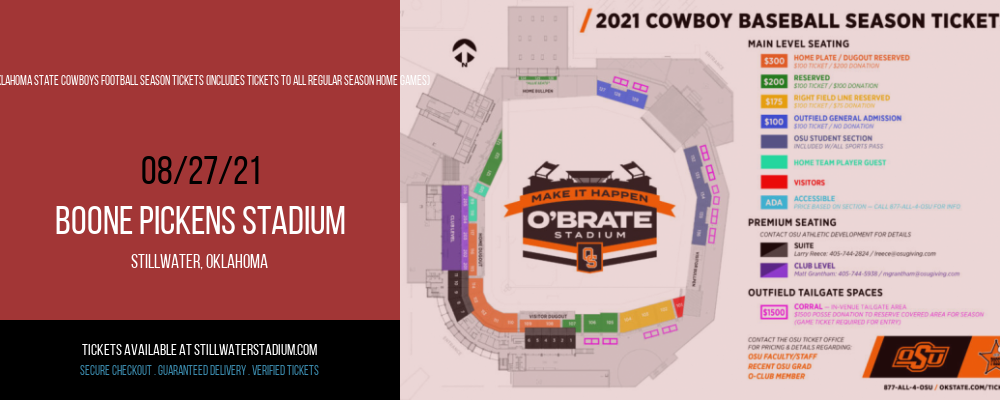 2021 Oklahoma State Cowboys Football Season Tickets (Includes Tickets To All Regular Season Home Games) at Boone Pickens Stadium